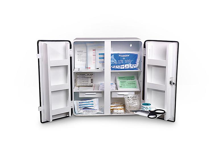 Erste-Hilfe-Koffer und Verbandschränke